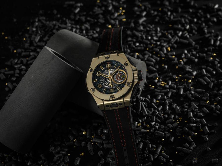 Hublot Big Bang Ferrari Magic Gold on black background