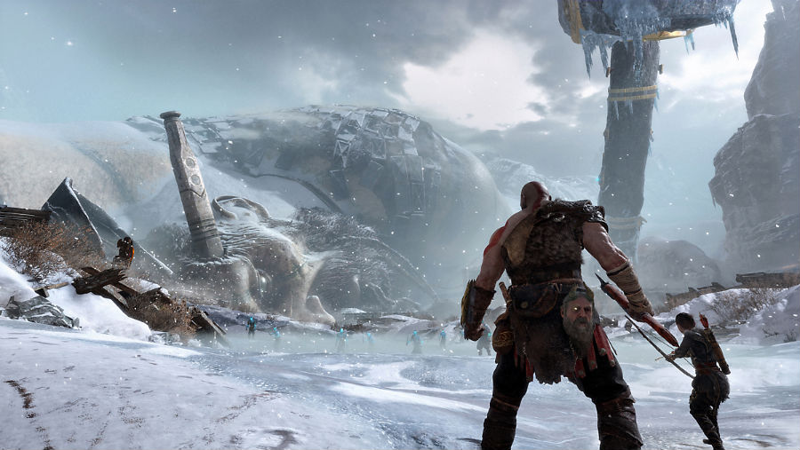 Kratos and Atreus facing off against a monster