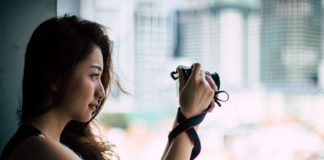 Vanessa holding the Canon M100