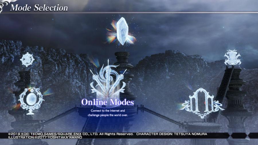 Dissidia Final Fantasy NT modes menu