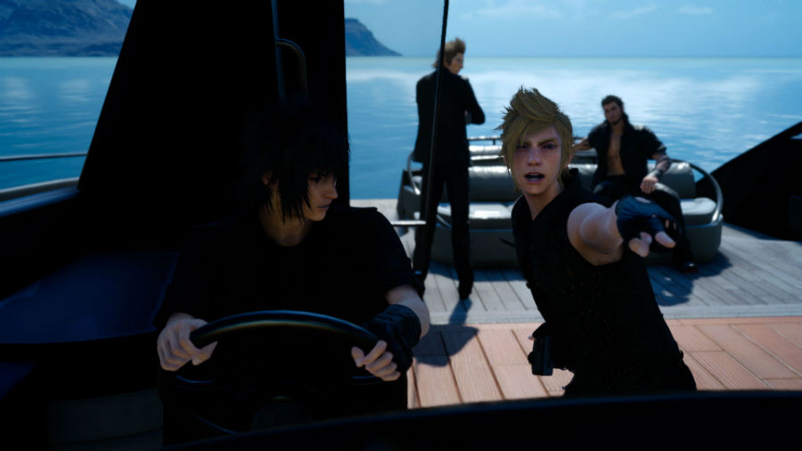 Noctis driving Royal Vessel boat while his friends don't help