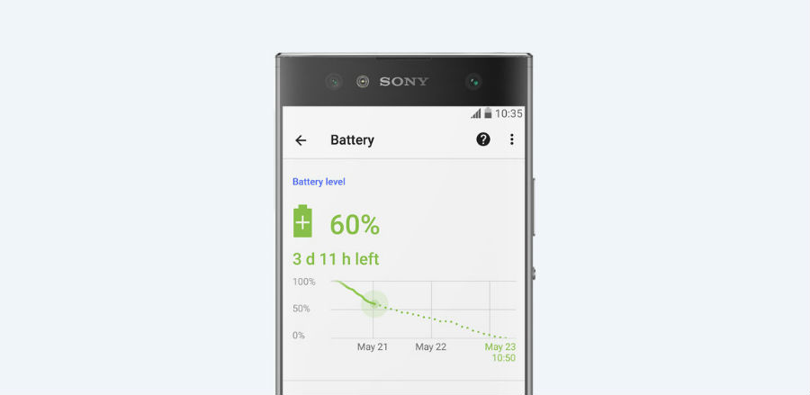 Sony Xperia XA2 Ultra battery life indicator