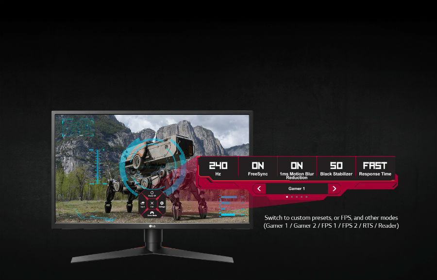 LG 27GK750F showing game setting presets