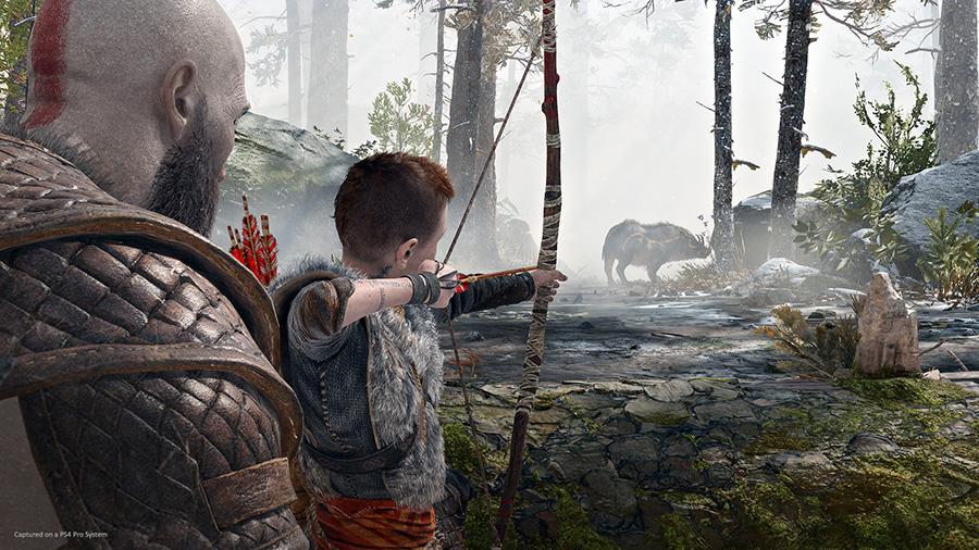 Kratos teaching Atreus to hunt
