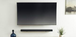 JBL BAR 3.1 beneath TV in living room