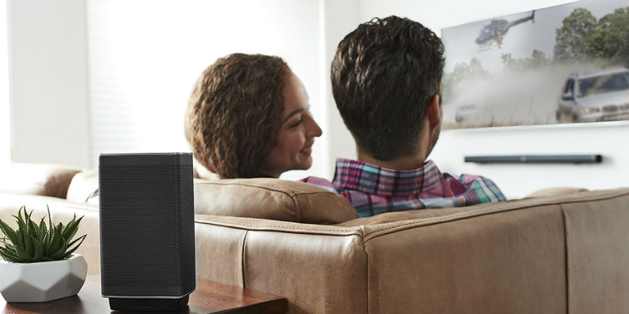 Couple watching TV with JBL Bar 5.1