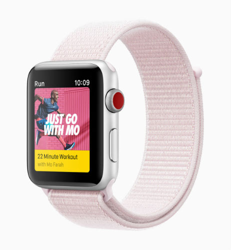 Apple Watch Nike Sport band in barely rose/pearl pink