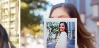 Woman taking photo with Fujifilm instax SQ6