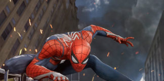 Spider-Man posing on debris