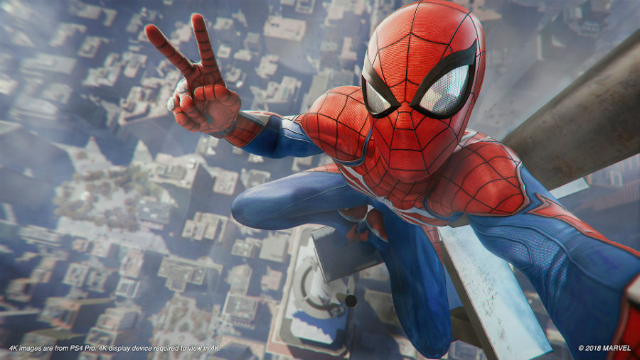 Spider-Man taking a selfie with New York