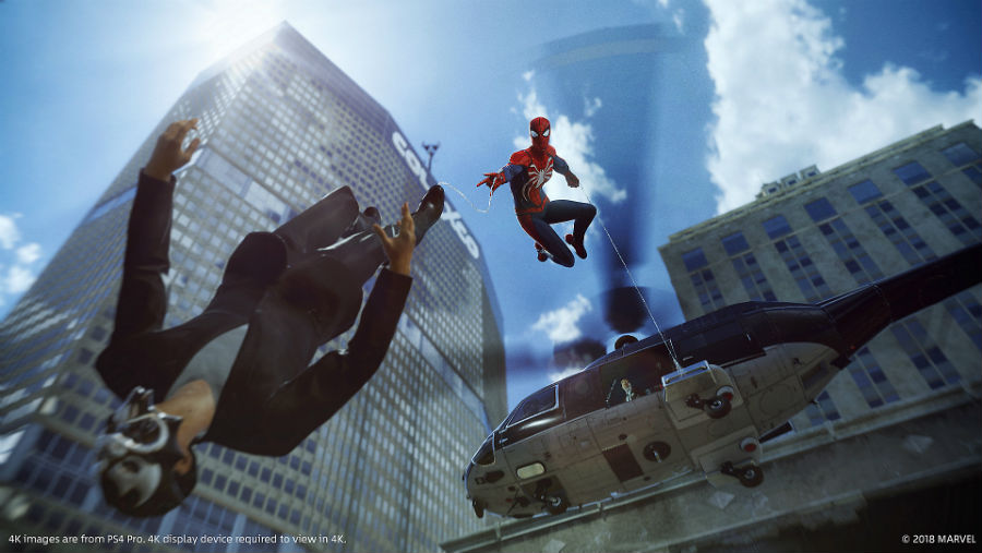 Spider-Man webbing an enemy from a helicopter