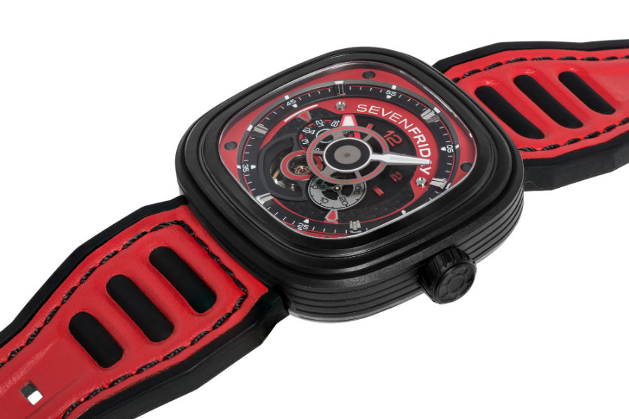 SEVENFRIDAY P3B/06 red angled view