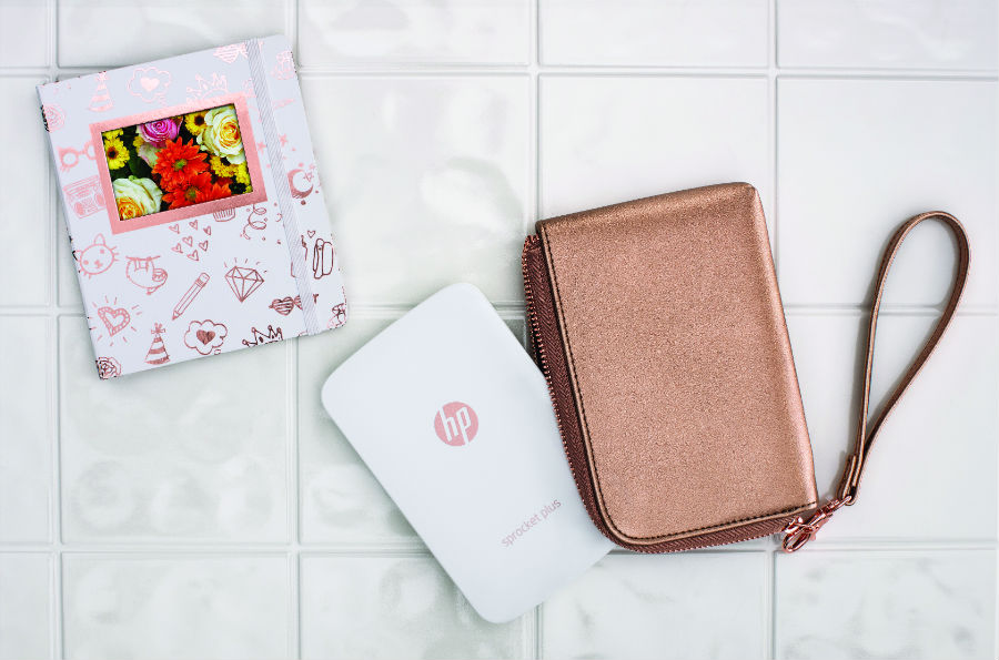 HP Sprocket Plus in white with pouch and notebook