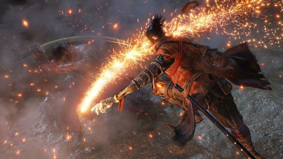 Sekiro using fire against enemies