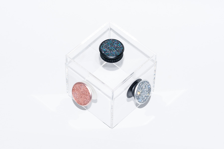 PopSockets showcased in Silver Crystal, Rose Crystal and Midnight Crystal
