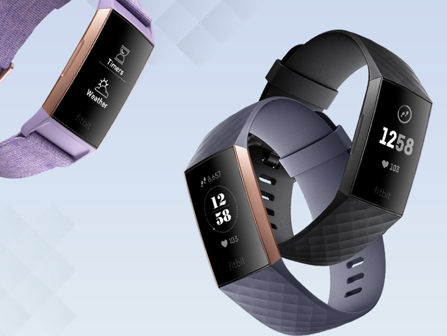 The Fitbit Charge 3 in their different colours of in black with a graphite aluminum case or blue gray with rose gold aluminum case