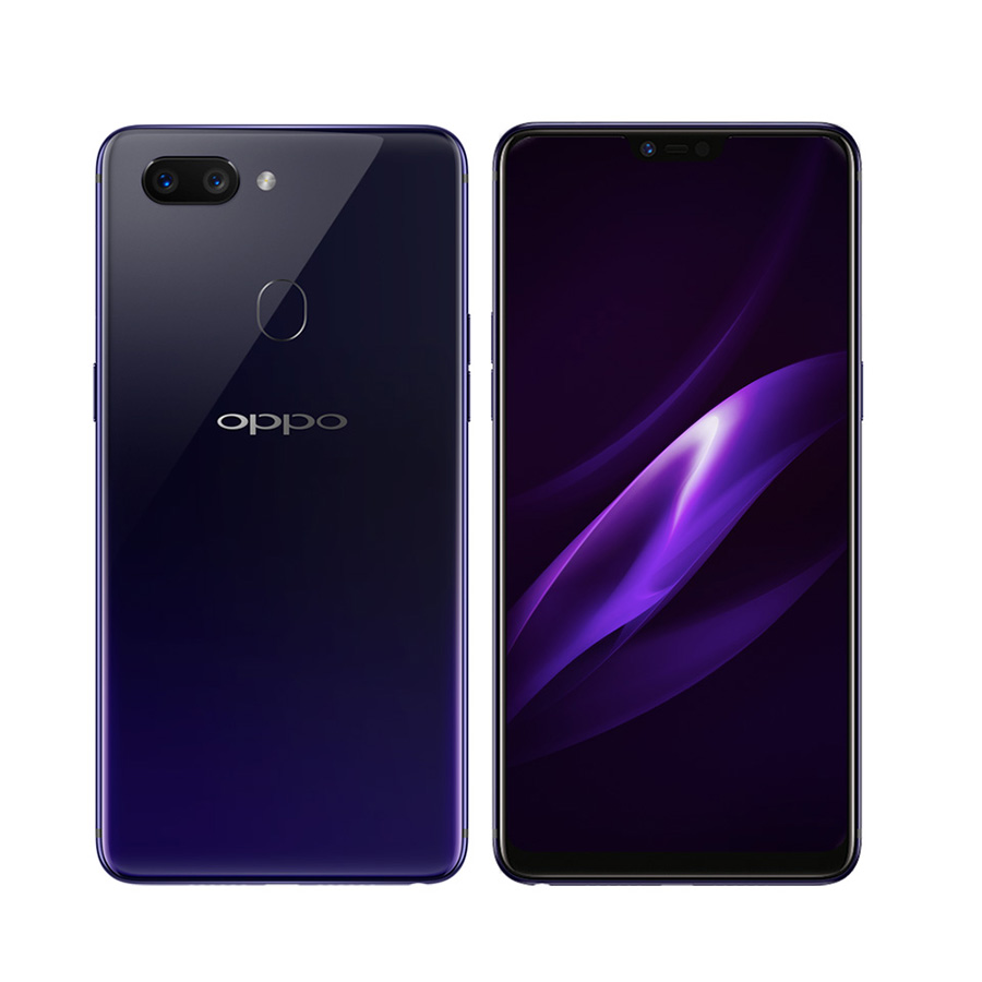 Both sides of the OPPO R15 in Nebula Purple