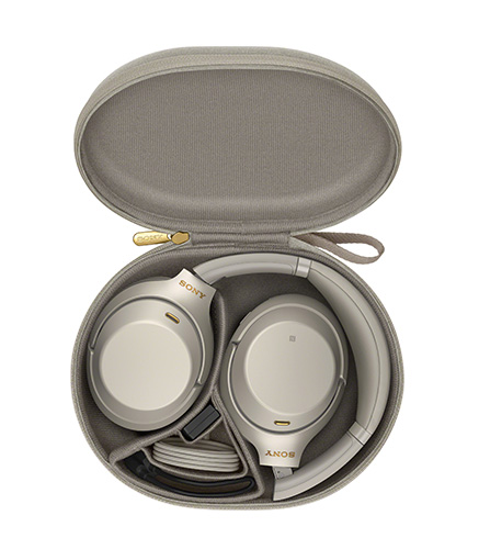 Sony WH-1000XM3 travel pack in Platinum Silver