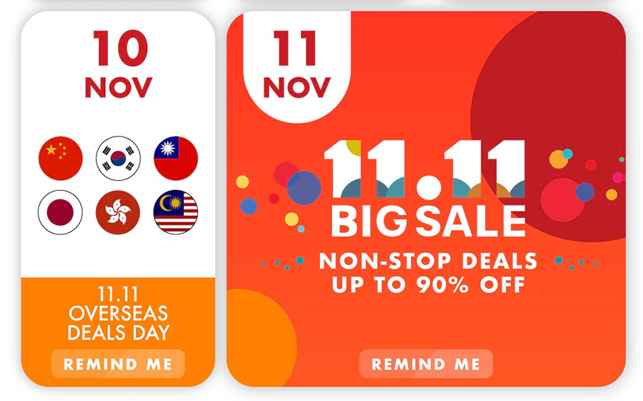 Deals on the 10th and 11th of November featured in the Shopee 11.11 sale