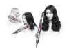 Models using the Dyson Airwrap styler to smooth or curl hair