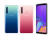 Samsung Galaxy A9 in Bubblegum Pink, Caviar Black, and Lemonade Blue