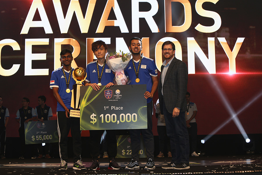 Team Flash winning first place in the EACC FIFA 2019 cup