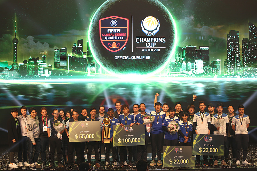 Participants and winners in the EACC FIFA tournament in Korea