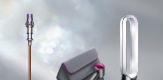 Dyson Christmas Gift Guide features Dyson V10 Absolute+, Dyson Pure Cool purifying fan, and Dyson Supersonic