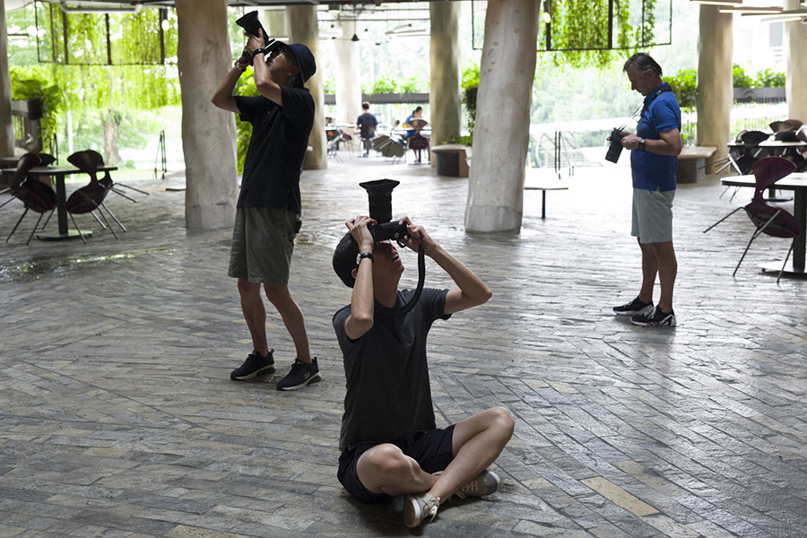 People taking photos at the Leica Playground 2018