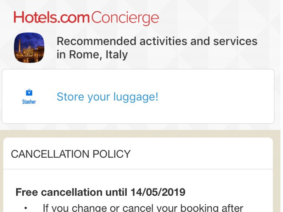 Stasher.com concierge features
