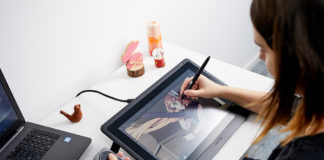 Wacom Cintiq 16 used for illustration