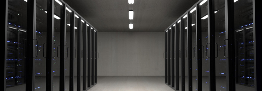 Server racks on display in a server room