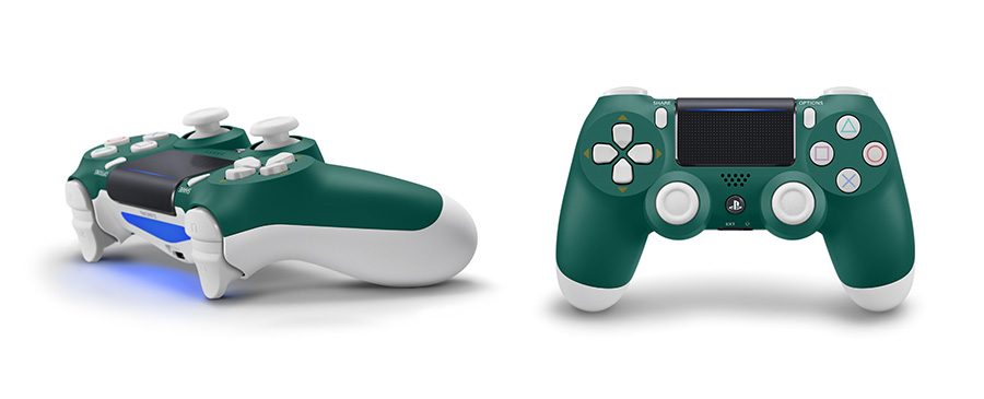 PlayStation4 Starter Pack Alpine Green controllers from side and front view