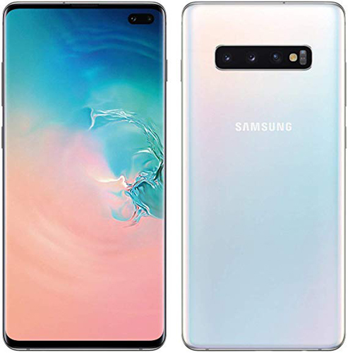Front and back views of the Samsung Galaxy S10+ smartphone