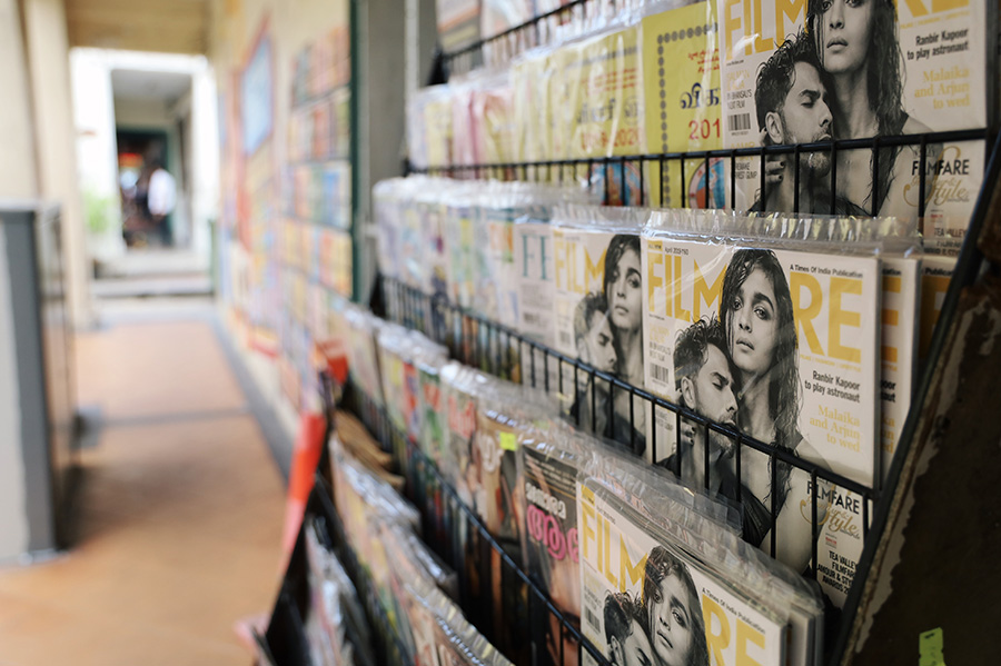 A photo of magazines and murals