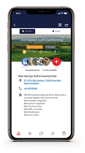 Using the Deemples app to find golf partners