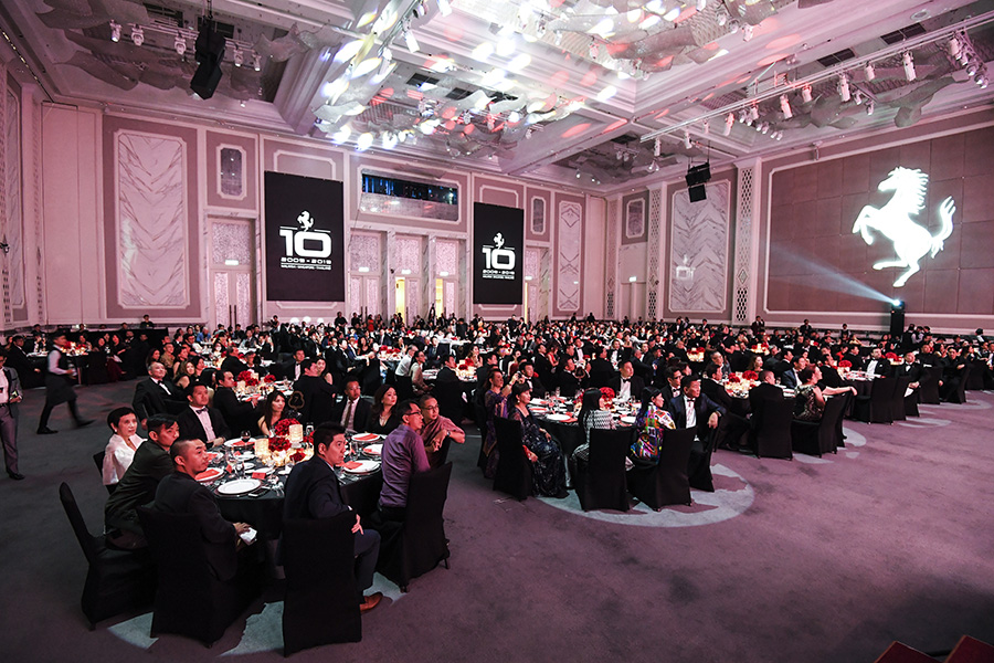 Ferrari owners gathered at the 10th Anniversary Gala Dinner