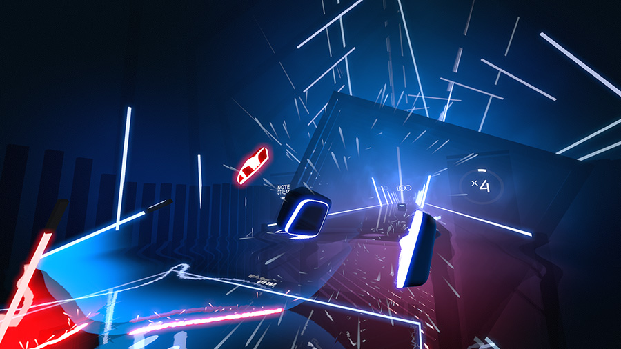 A screencap of Beat Saber gameplay