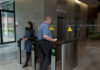People using a building access control system