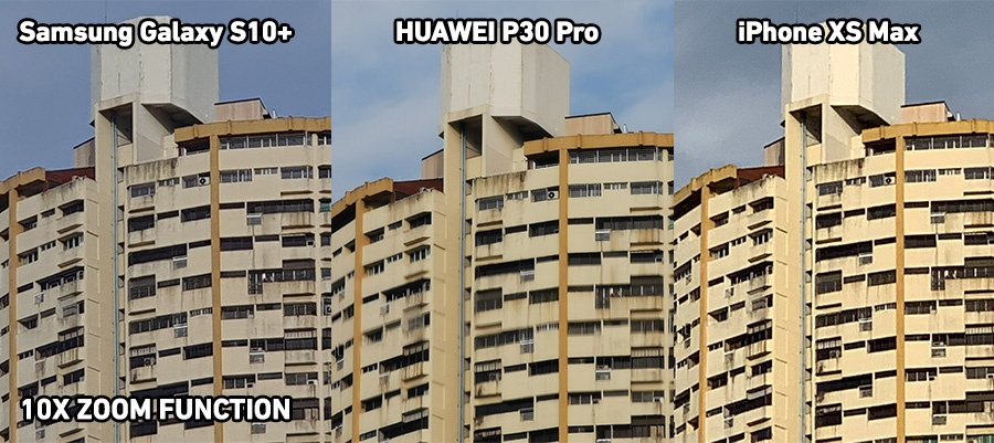 Side-by-side 10X Zoom comparison of photos between the Samsung Galaxy 10+, HUAWEI P30 Pro, and iPhone Xs Max