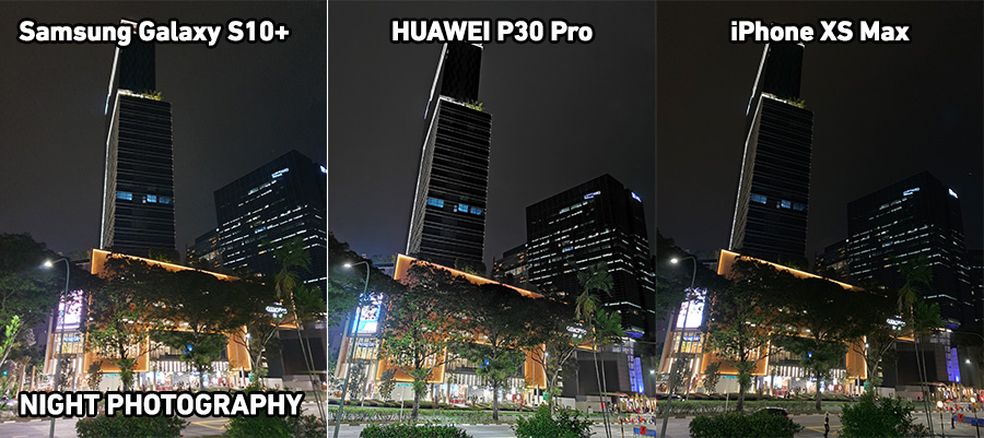 Side-by-side Night photography comparison of photos between the Samsung Galaxy 10+, HUAWEI P30 Pro, and iPhone Xs Max