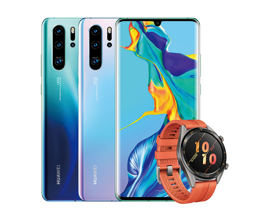 Huawei P30 Pro in various colours with the watch
