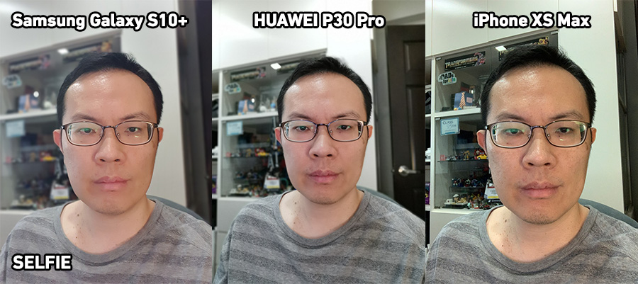 Side-by-side selfie comparison of photos between the Samsung Galaxy 10+, HUAWEI P30 Pro, and iPhone Xs Max