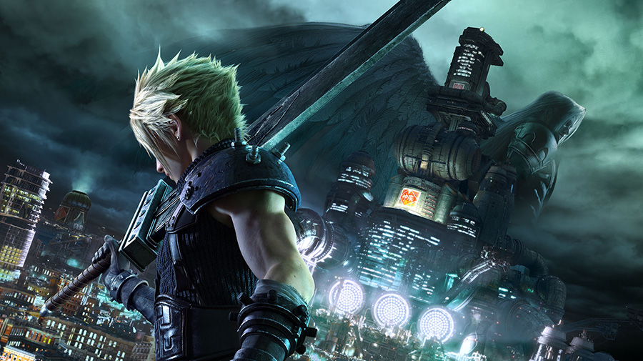 Cloud looking at Midgard in Final Fantasy VII Remake