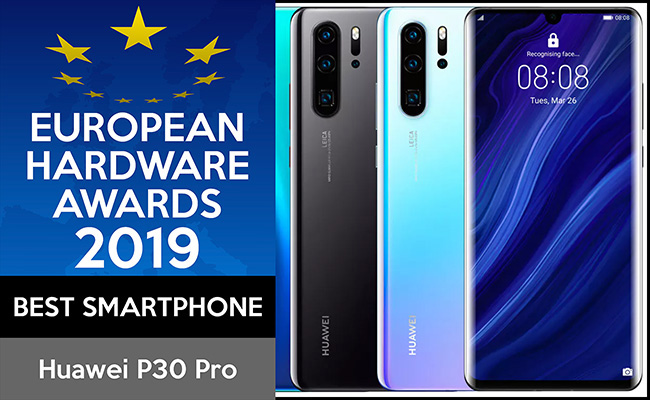 Huawei P20 Pro winning the European Hardware Awards 2019 in the Best Smartphone category