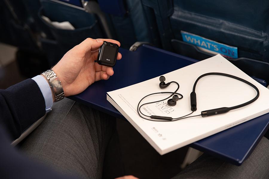 RHA Wireless Flight Adapter on the plane