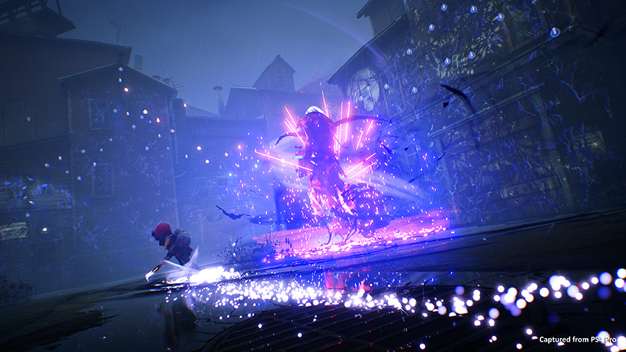A screenshot of combat from Concrete Genie