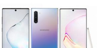 Samsung Galaxy Note10 in Aura Black, Aura Glow, and Aura White