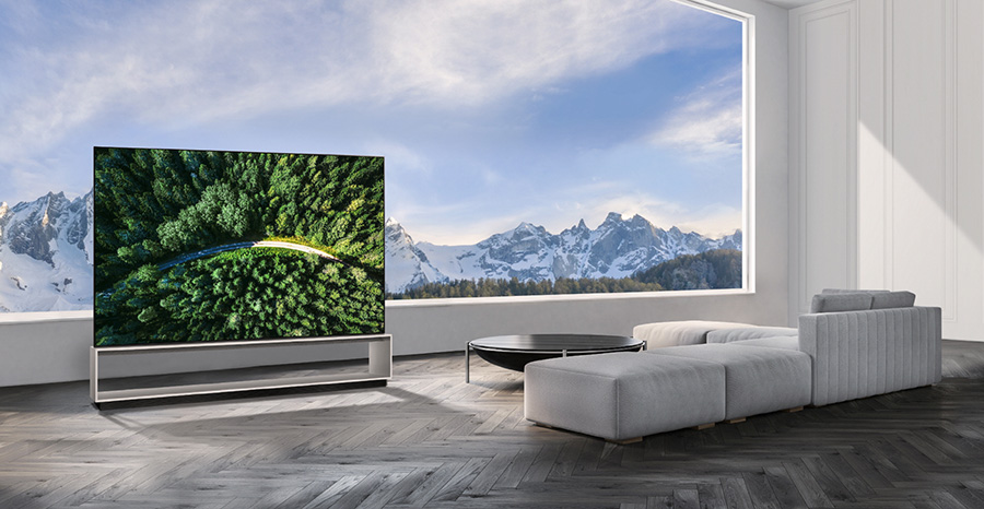 LG 8K OLED TV with a view