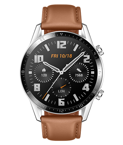 HUAWEI GT2 smartwatch in classic brown leather